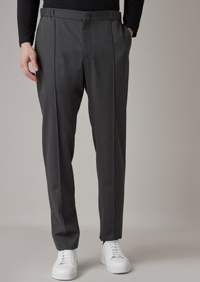 Giorgio Armani Water Repellent Serge Pants With Pleats