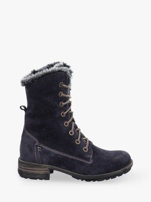 Josef Seibel Sandra 93 Suede Lace Up Boots, Denim Blue