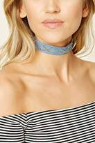 Forever 21 Crisscross Chain Denim Choker