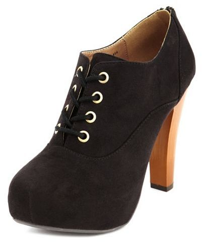 Charlotte Russe Sueded Lace-Up Bootie