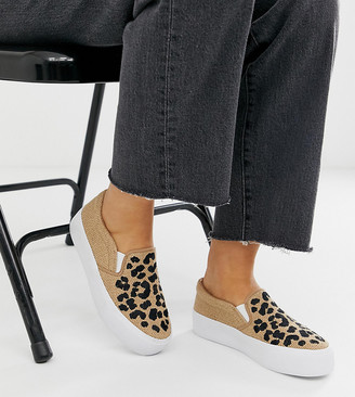 Asos Design DESIGN Wide Fit Weekend slip on plimsolls in embroidered leopard-Beige