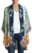 Johnny Was Mixed-Print Twill Kimono Jacket, Multi, Plus Size