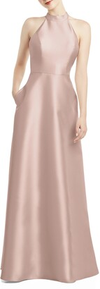 Alfred Sung Halter Style Satin Twill A-Line Gown
