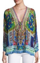 Camilla Desdisco Silk Lace-Up Top