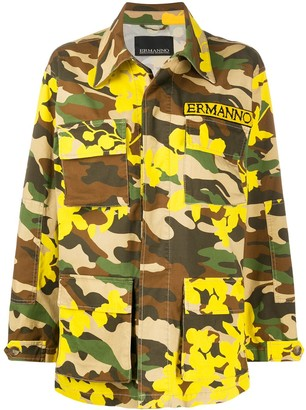 Ermanno Ermanno Camouflage-Print Military Jacket