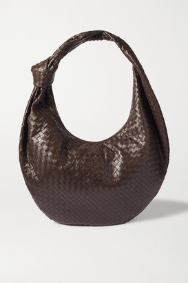 Bottega Veneta Jodie Maxi Knotted Intrecciato Leather Shoulder Bag - Dark brown