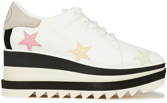 Stella McCartney Sneak Elyse Appliqued Faux Leather Platform Sneakers