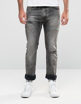 Diesel Thavar Slim Jeans 858M Black Acid Distressed