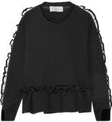 Preen by Thornton Bregazzi Enid Ruffle-trimmed Cotton-terry Sweatshirt - Black