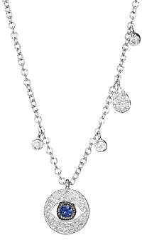 Meira T Women's 14K White Gold Sapphire & Diamond Evil Eye Pendant Necklace
