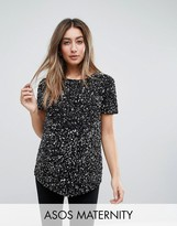 Asos Dip Back T-Shirt With Scattered Embellishment