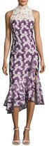 Nanette Lepore Dream Chaser Floral Asymmetric Cocktail Dress, Mulberry
