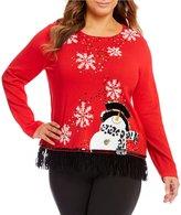 Berek Plus Snowman On The Fringe Sweater