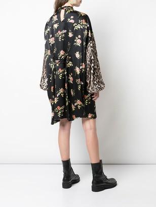 R 13 Printed Pussy Bow Mini Dress