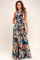LuLu*s Gazebo Spirit Navy Blue Floral Print Maxi Dress