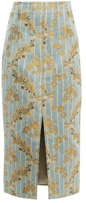 Brock Collection Pectolite Floral Cotton-blend Jacquard Skirt - Blue Multi