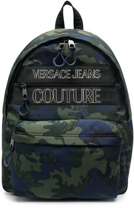 Versace Jeans Couture Camouflage-Print Branded Backpack
