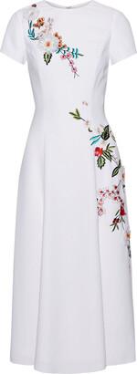 Carolina Herrera Embellished Stretch-crepe Midi Dress