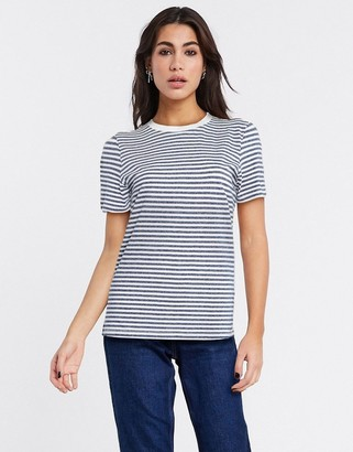 Selected perfect short sleeve stripe t-shirt in dark blue