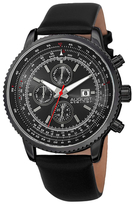 August Steiner Three Hand Chronograph Leather Watch, 46mm