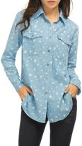 Allegra K Women Long Sleeves Button Closure Stars Tunic Denim Shirt Blue XL