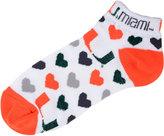 For Bare Feet Women's Miami Hurricanes Heart Logo Repeat Socks
