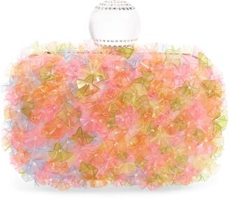 Jimmy Choo Cloud Transparent Flowers Satin Clutch