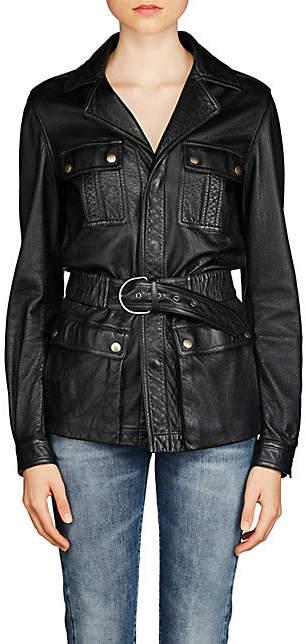 Saint Laurent Women's Leather Safari Jacket - Black