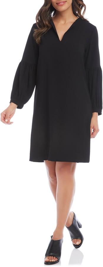 Karen Kane Split Neck Long Sleeve Crepe Dress