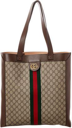Gucci Web Orphidia Large Gg Supreme Canvas & Leather Tote