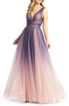 Mac Duggal Ombre V Neck Gown