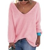 Vinaka Womens Casual Autumn Deep V Neck Solid Loose Knit Pullover Sweater (L, )