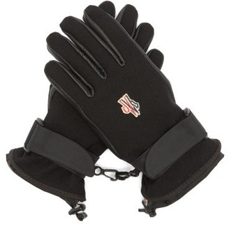 MONCLER GRENOBLE Logo Patch Twill And Leather Ski Gloves - Black