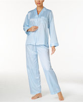 Miss Elaine Jacquard Dot Brushed-Back Satin Pajama Set