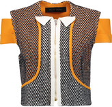 Roland Mouret Chadwell cropped crepe-paneled knitted jacket