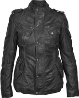 Forzieri Black Leather Jacket w/ Quilted Lining