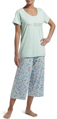 Hue Plant Positivity Capris Set (Brook Green) Women's Pajama Sets