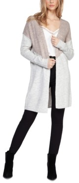 Black Tape Colorblocked Open-Front Cardigan
