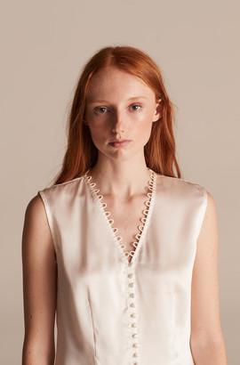 Rebecca Taylor Tailored Sleeveless Silk Charmeuse Top