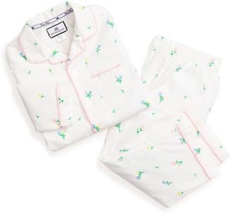 Petite Plume Girl's Tulips Printed Two-Piece Pajama Set, Size 6M-14