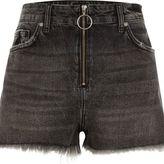 River Island Womens Black zip front high waisted denim shorts