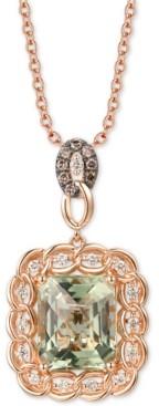 """LeVian Le Vian Mint Julep Quartz (5-1/2 ct. t.w.) & Diamond (1/3 ct. t.w.) 20"""" Pendant Necklace in 14k Rose Gold"""