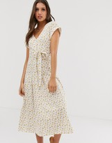 Asos Design DESIGN midi button through belted tea dress with drop waist in ditsy floral