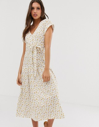 Asos DESIGN midi button through belted tea dress with drop waist in ditsy floral