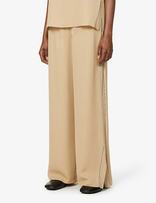 Theory Wide-leg high-rise silk trousers