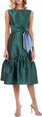 Kay Unger Tie Waist Ruffle Sleeveless Dress