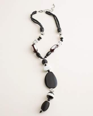 Chico's Chicos Black and White Beaded Y-Necklace