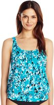 Penbrooke Women's Jungle Jewels Shirred Neck Blouson Tankini