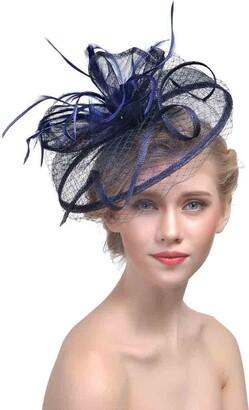 Ysjoy Accessory YSJOY Vintage Feather Veil Mesh Fascinator Derby Hat Bridal Church Hair Accessory - Blue - 25 cm