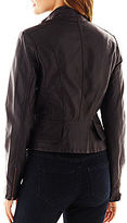 JCPenney Collection B. Peplum Faux-Leather Jacket